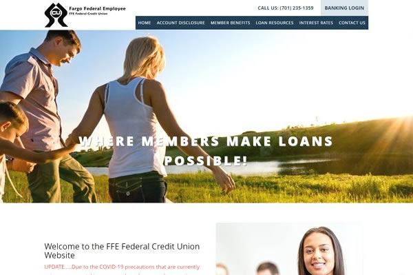 Websites for banks and credit unions.